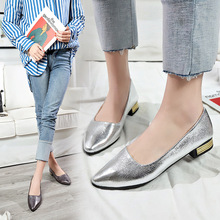 Brand New Women Silver Gold Slip-on Pumps Pointed Toe Low Heels Shoes For Woman Ladies Shoes Zapatos De Mujer