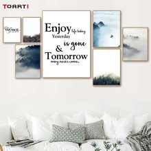 Enjoy Life Today Quotes Foggy Forest Landscape Canvas Painting Nordic Poster And Prints Modern Wall Art Picture Murals