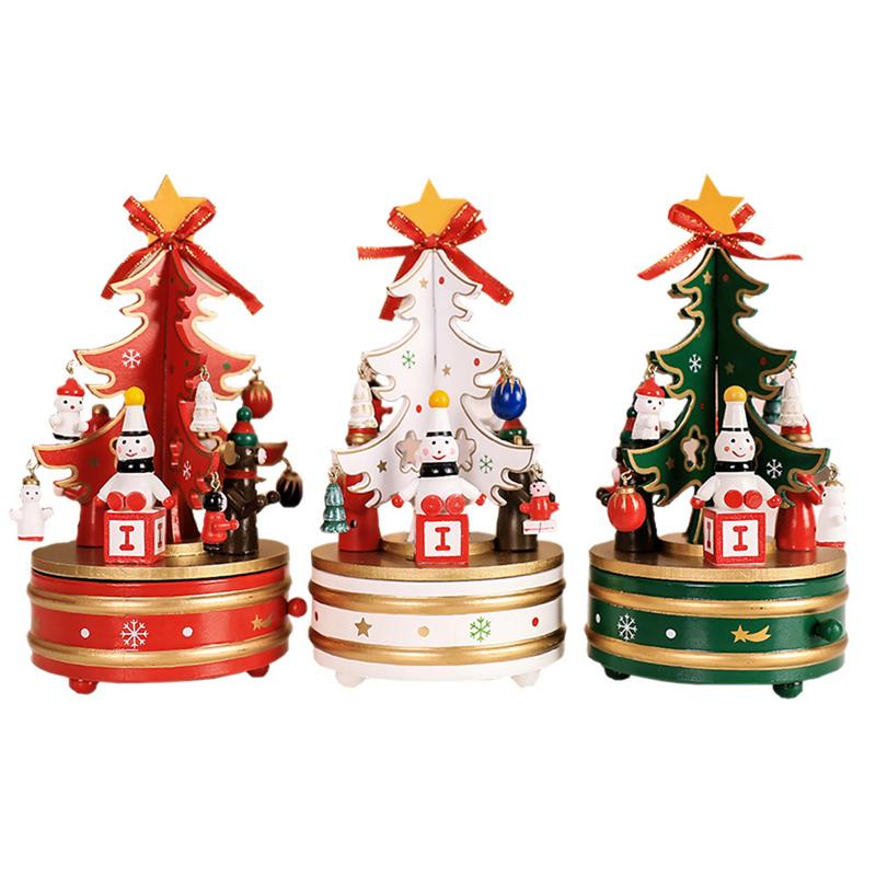Christmas Tree Shaped Rotating Music Box Bell Music Box Wooden Christmas Gift Crafts Ornaments for Home Indoor Decor