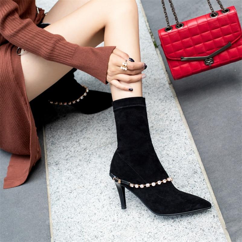6236dfdea Zapatos Cuadros De Botas Invierno Punta Decoración marrón A Mujer Negro  Pantorrilla gris Cálido Media Altos Nuevas Oscuro Imitación Martin Tacones  Diamantes ...