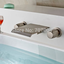 Modern 3PCS Wall Mounted Waterfall Spout Bathroom Basin Faucet Brushed Nickel Finished Basin Bathtub Faucet
