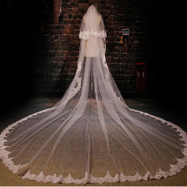 Wedding Veil High Quality 3.5-Meter Length Two Layers 3 M Width Elegant Luxury Long Elegant Lace Bridal Veils with Metal Comb