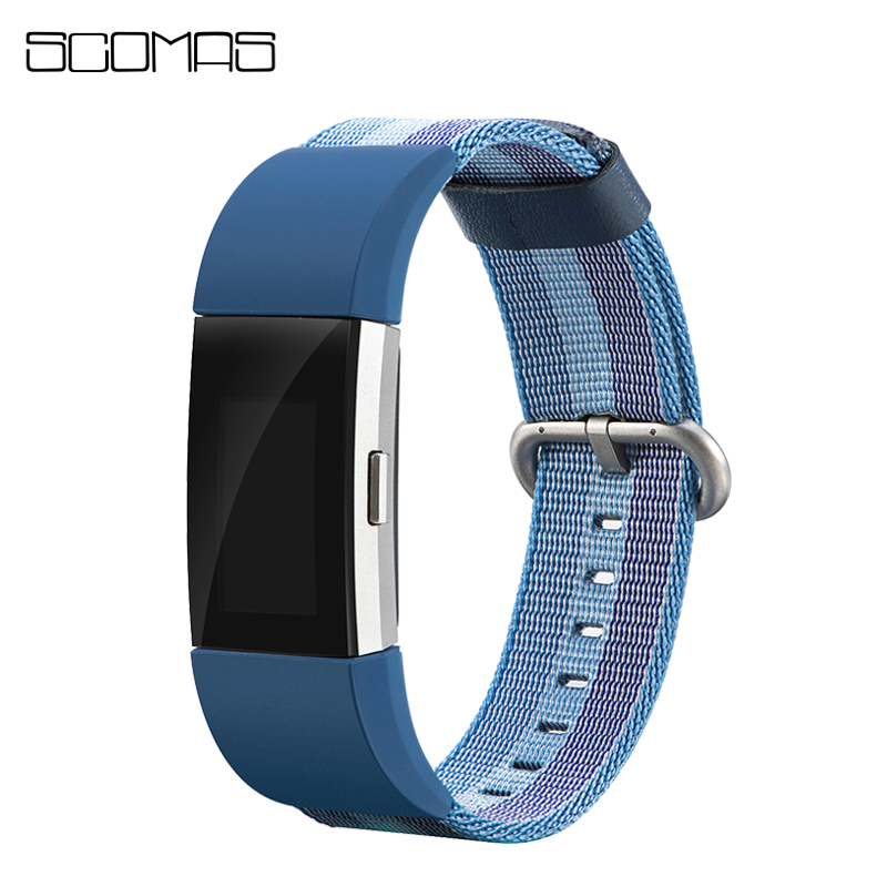 SCOMAS Replacement Nylon Strap for Fitbit Charge2 Smart Wrist Watch Color Woven Canvas Bands for Fit Bit Charge 2 Wristband