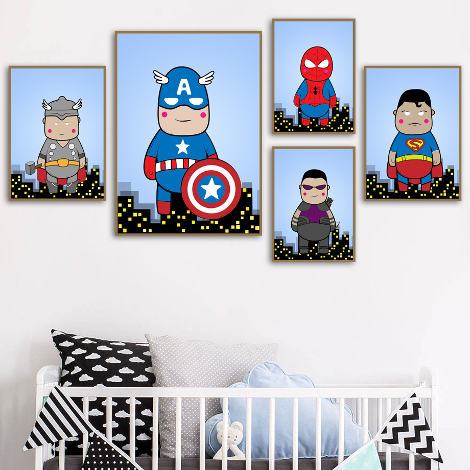 Spiderman Raytheon Captain America Wall Art Canvas Painting Nordic Posters And Prints Funny Wall Pictures For Kids Room Decor