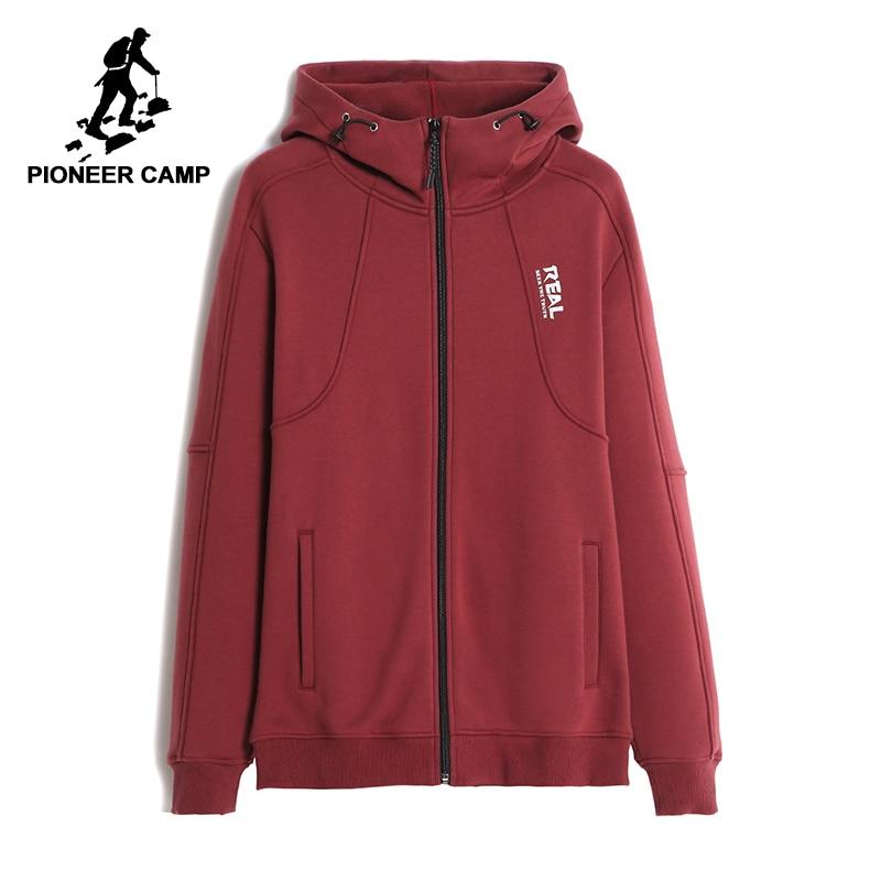 Пионерский лагерь повседневные одноцветные толстые мужчины куртка брендовая одежда мода с капюшоном зимние теплые флис мужской пальто 100% ...