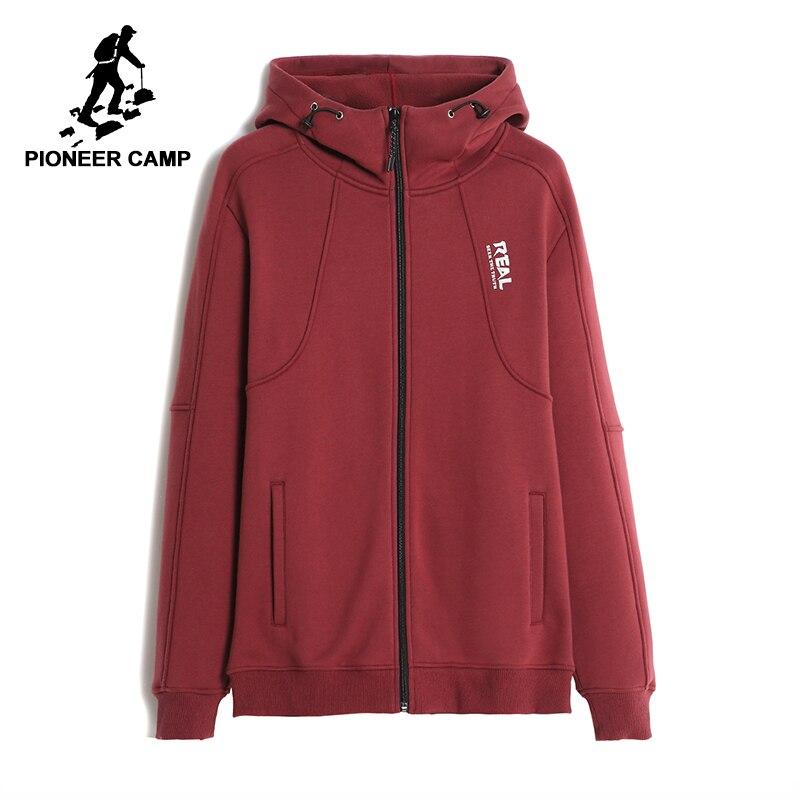 Pioneer Camp sólida casuais primavera homens jaqueta de roupas de marca de moda casaco com capuz fleece confortável masculino 100% algodão AJK701244