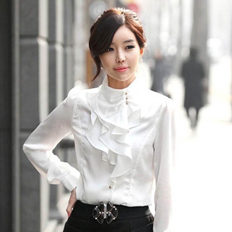 Wanita Korea baru Fashion Blus Sutra Plus Ukuran S-2XL Mengacak-acak - Pakaian Wanita - Foto 2