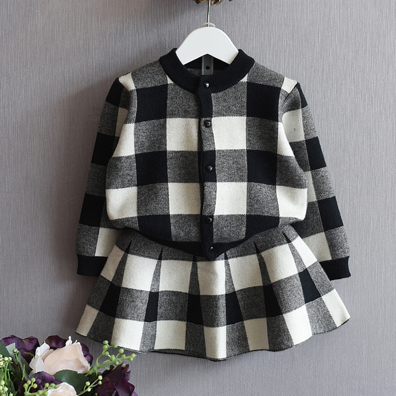 2017 Girls Long sleeves fashion casual clothes Princess party set Plaid cardigan sweater +Girl skirt Children's clothing Y63105 t100 children sweater winter wool girl child cartoon thick knitted girls cardigan warm sweater long sleeve toddler cardigan