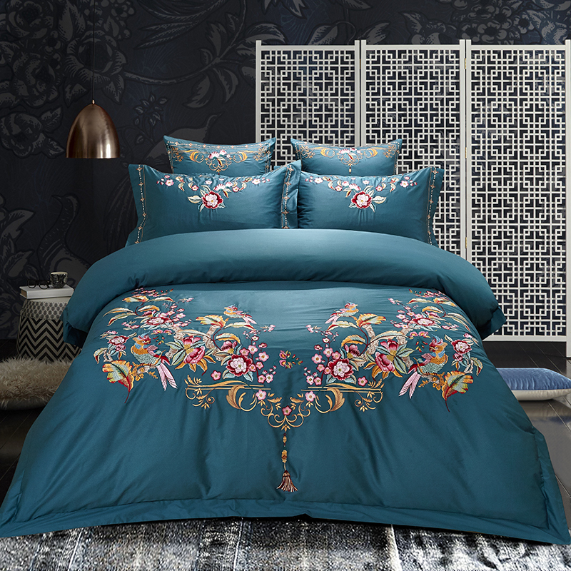 Aristocratic luxury Egypt Cotton Embroidery Royal Bedding set soft silky Queen King Size Duvet Cover set Bed Linen bedSheet 4pcs
