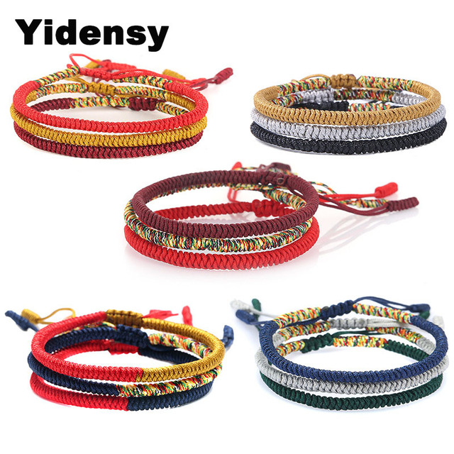 6112bcfb7a3c Yidensy tibetana budista suerte encanto tibetano pulseras y brazaletes para  mujer hombres hechos a mano nudos