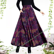 2018 Plus Size 6xl Autumn Winter Retro Vintage Print Floral Pattern Purple Woolen Female Long Maxi Skirts Womens Clothing