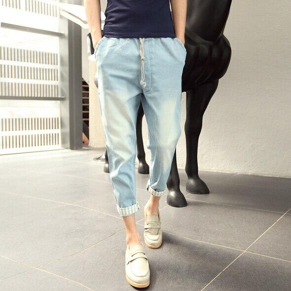 2017 мужская Мода Новый Падение Промежность Тощий Гарем Брюки Брюки Мужчины Hip Hop Abkle-длина Мешковатые Штаны Pantalones Джинсы