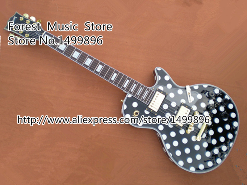 Top Selling Randy Rhoads Signature Black LP Custom Block Inlay Electric Guitar with Polka Dot Left Handed Available wholesale cnbald 1959 custom signature electric guitar with bridge bigsby 20th anniversary in black 120323