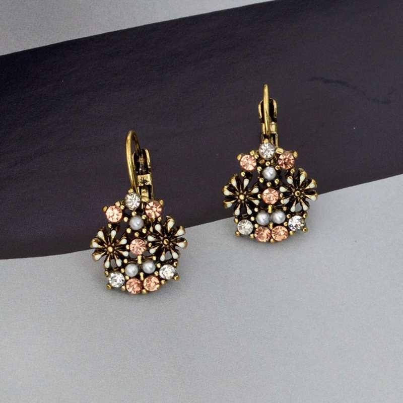 JAVRICK Vintage Boho Crystal Pressed Flower Circle Dangle Drop Statement Earring Women