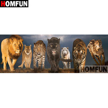"HOMFUN Voll Platz/Runde Bohrer 5D DIY Diamant Malerei ""Tier lion tiger"" 3D Stickerei Kreuz Stich 5D decor Geschenk A08194(China)"