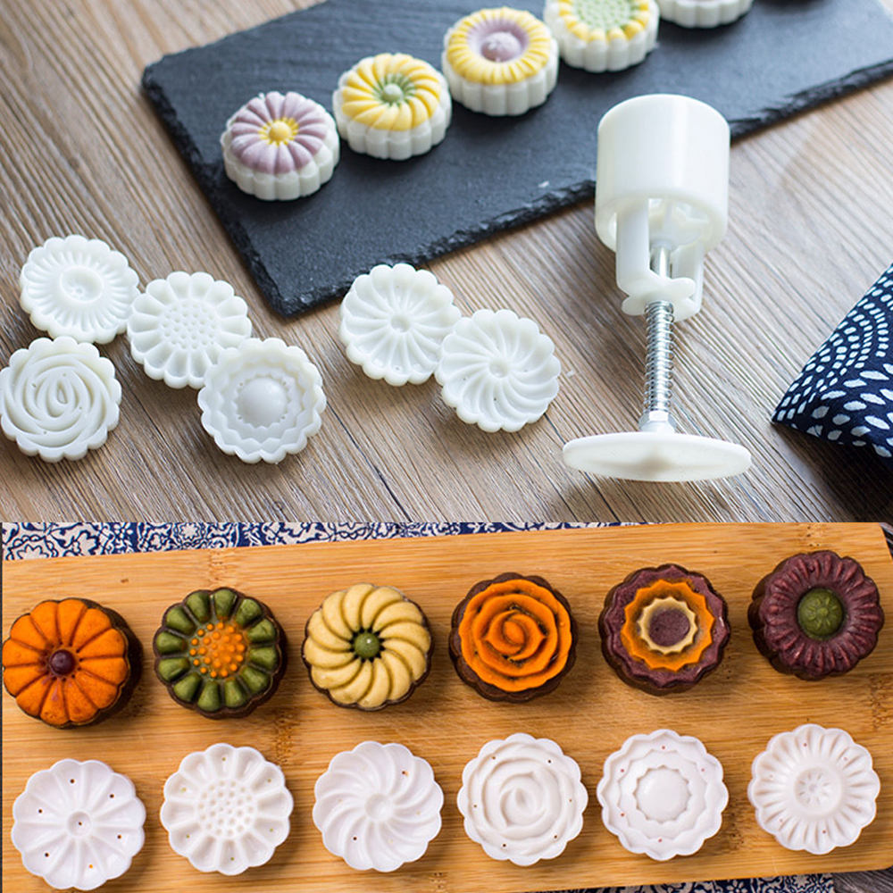 6 Style Round Flower Mooncake Mold Hand Pressure Fondant Moon Cake Decoration Tools Cookie Cutter Pastry Baking Tool