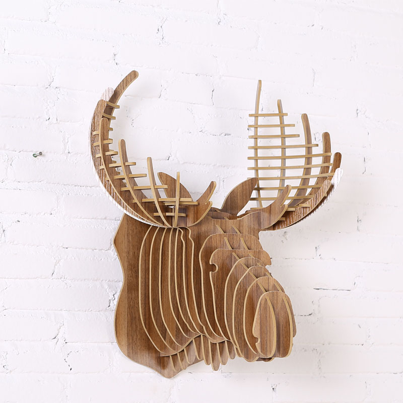 Us 36 39 20 Off Wall Hanging Wooden Crown Stag Head Puzzle 5mm Home Decor Animal Sculptures Sculpture Wdm017m In Statues