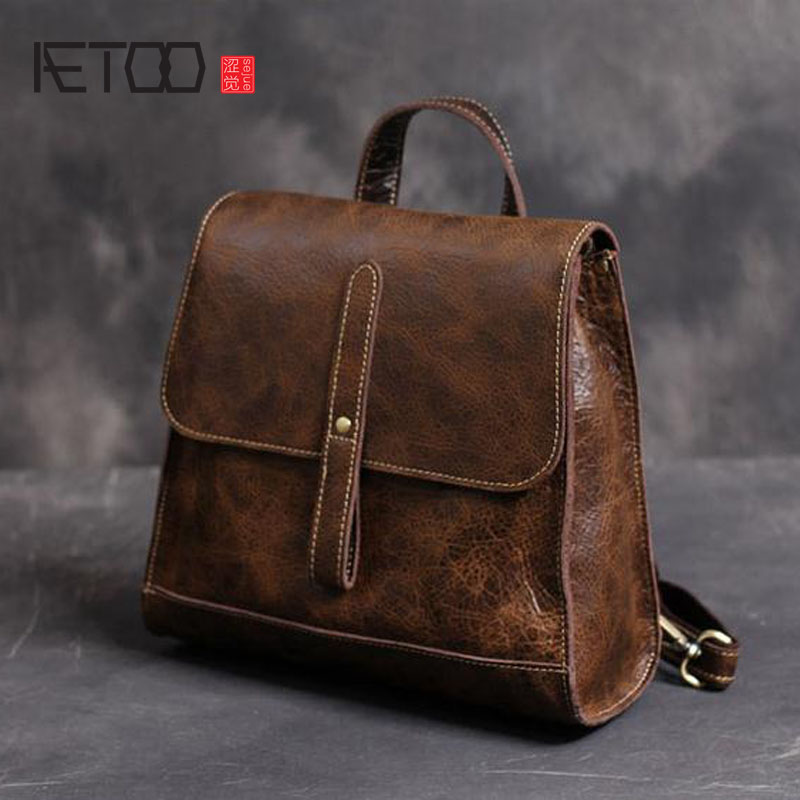 AETOO Handmade imported leather shoulder bag retro backpack leather personalized travel women backpack aetoo spring and summer new leather handmade handmade first layer of planted tanned leather retro bag backpack bag