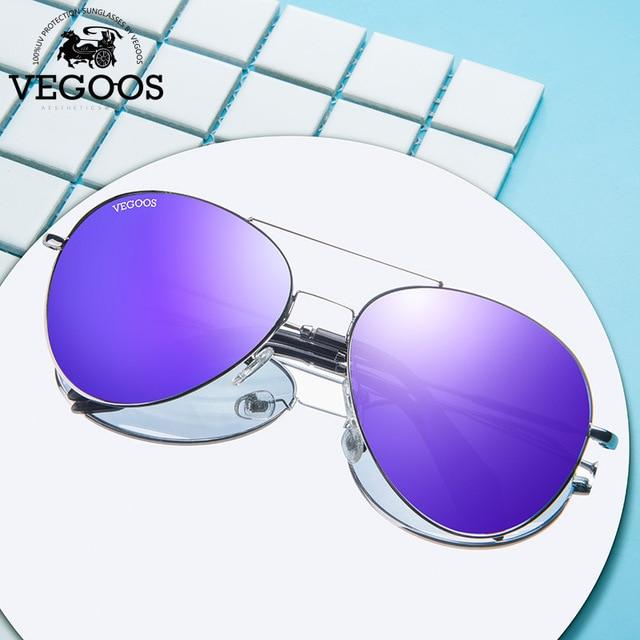35aa061938 VEGOOS Luxury Designer Brand real metal frame sunglasses women retro pilot  glass famous sun glasses oculos