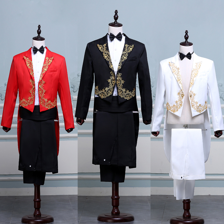 Red White Black Tailcoat Performance Suit Gold Lace Palace Mens Wedding Prom Party Suits Groom Tuxedo Long Blazer Jacket+Pants