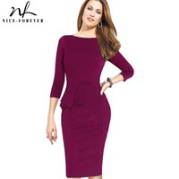 Work Dress 3 4 Sleeve Round Neck Women Fashion Sheath Elegant Cocktail Pencil Bodycon Female Pencil