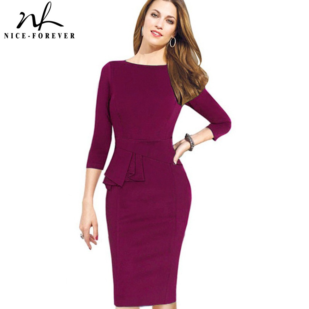 Nice-forever Karriere Kvinne Peplum Work Dress 3/4 Sleeve O Neck Dame Mote Skjede Elegant Business Bodycon Pencil Dress b228