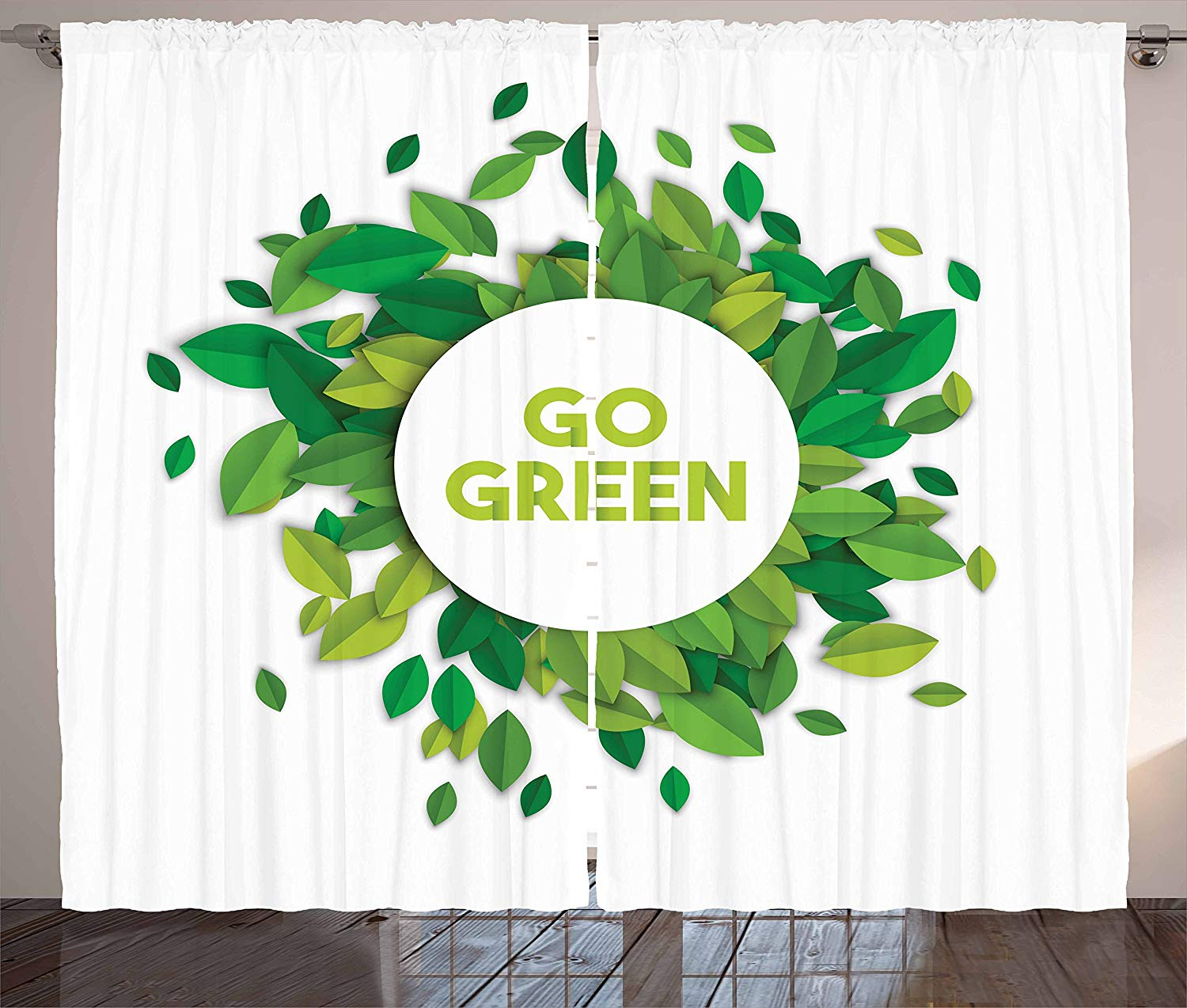 Quote Curtains Go Green Text Inside a White Circle with Leaves Eco Awareness Living Room Bedroom Window Decor Panel Set image