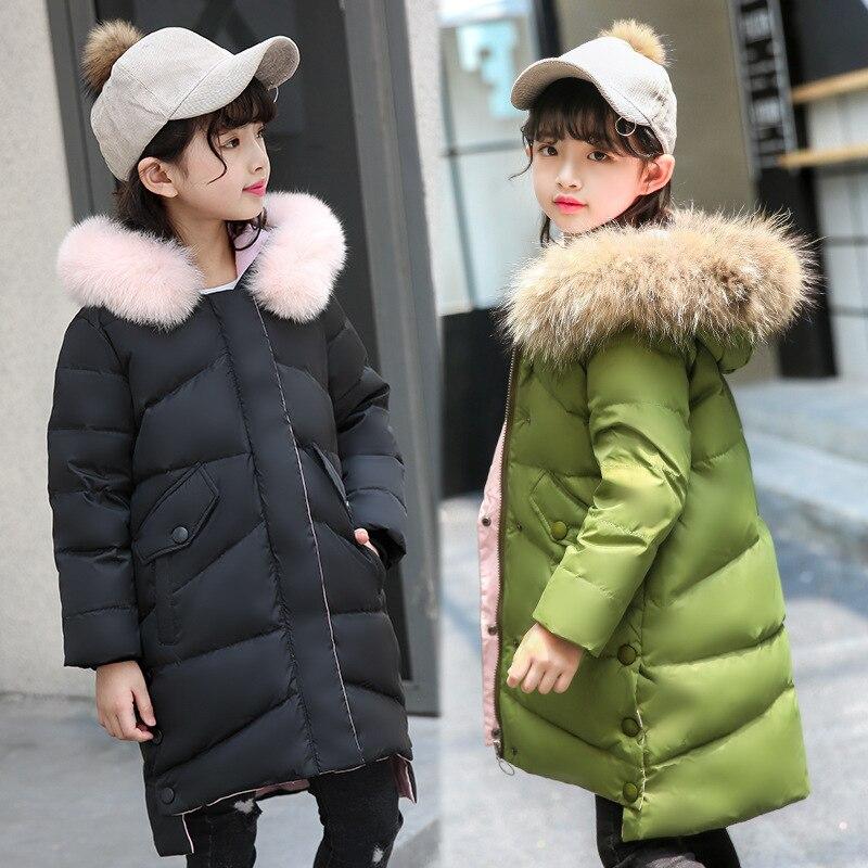 Hot 2018 girls Winter duck down Jackets Girls Fashion Fur Collar Letters Coats Girl Thickening Hooded Warm Jacket kids clothes ichi ichi 100965 12277
