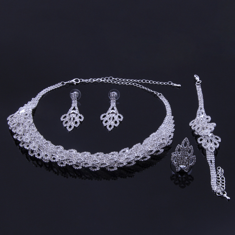 New Fashion Silver Plated Crystal Necklace/Earrings/Ring/Bracelet Wedding Accessories Bridal Jewelry Sets For Women #N202 viennois new blue crystal fashion rhinestone pendant earrings ring bracelet and long necklace sets for women jewelry sets