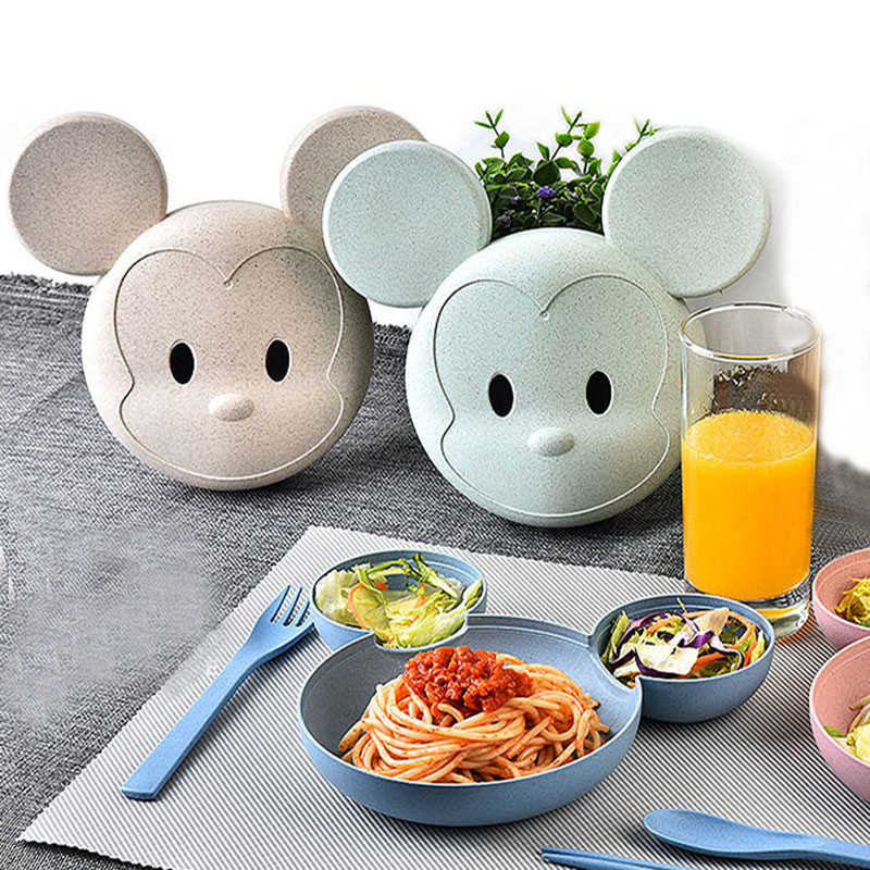 Wheat Straw Cartoon Mouse Dinnerware Lovely Colorful Kids Cutlery Environmental Bowl Children Plates Lunch Box 4pcs/set