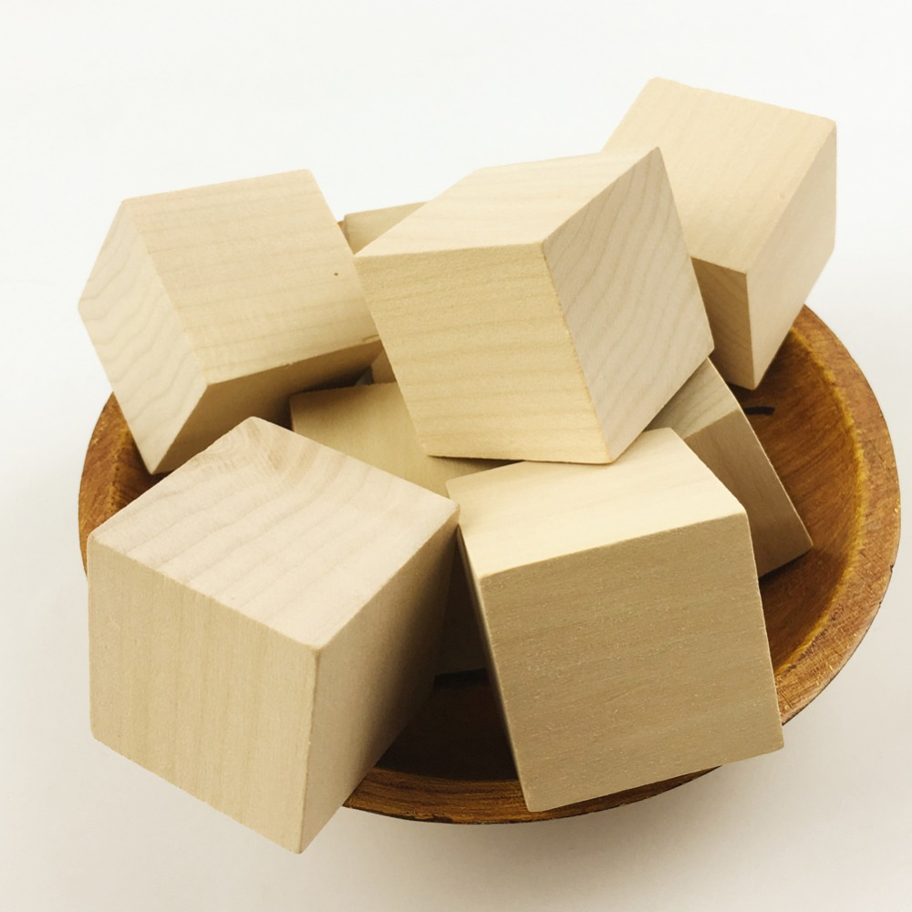 Unfinished wood craft products - Pinjeas Large Square Wooden Bead Unfinished Natural Handmade Woodcrafts Baby Toy Cube Montessori Blocks Home Decor 40mm No Hole