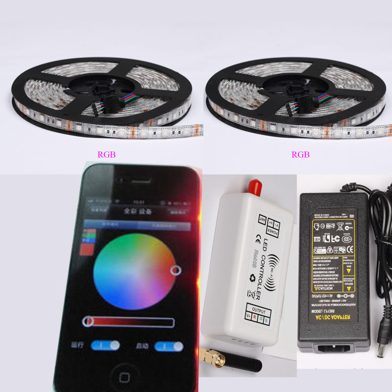ФОТО DC12V 5/10/15/20M 60Led/m 5050 RGB LED Strip Light Tape ribbon lamp+Wifi Remote Controller+Power adapter for iOS iPhone Android