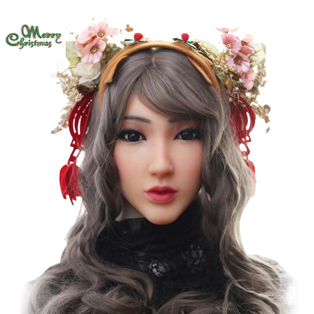 EYUNG Christina ange visage réaliste silicone femelle mascarade Halloween cosplay drag queen crossdresser Couverture les cicatrices du visage