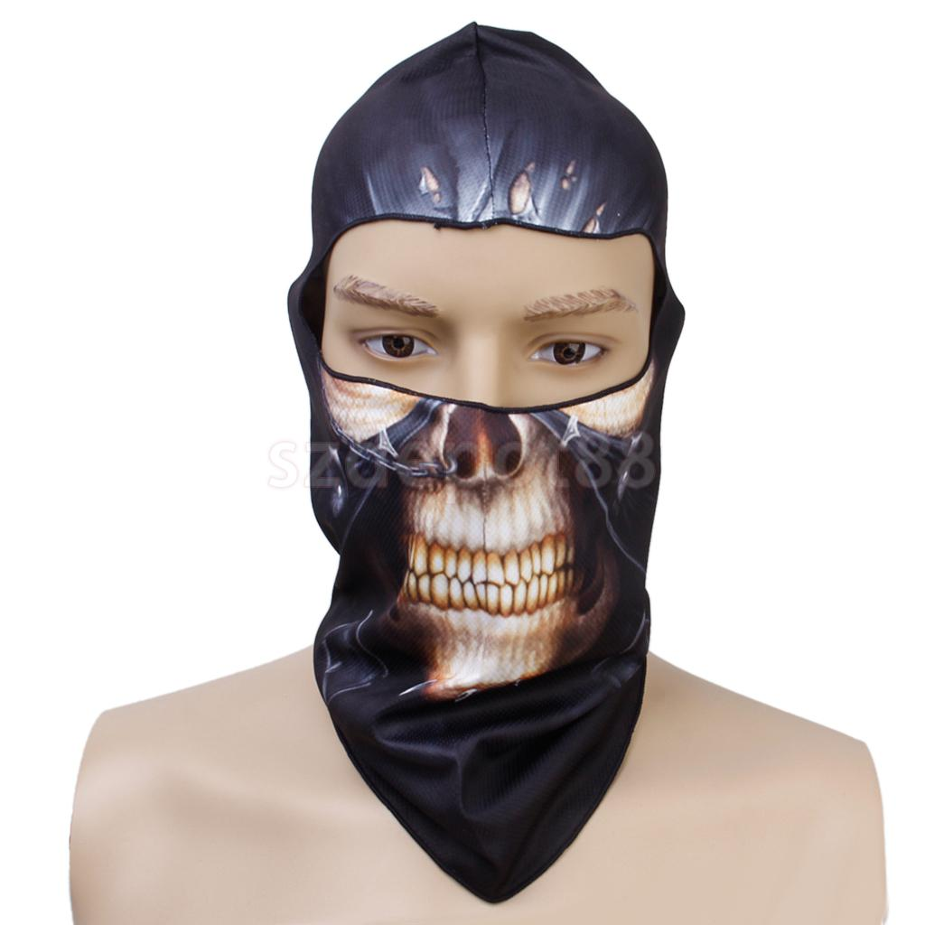 Punk Skull Halloween Outdoor Cyling Fishing Full Face Head Cover Hood Protector UV Cap Hat