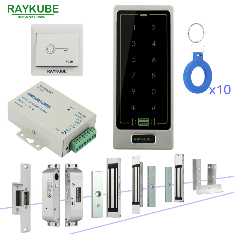 RAYKUBE Access Control System With Touch Keypad RFID Reader Electronic Door Lock Full Kit For Home Office diysecur magnetic lock door lock 125khz rfid password keypad access control system security kit for home office