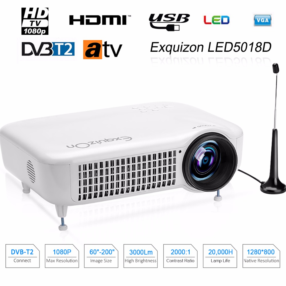 Caiwei Home Use Dvb T2 Projector Led Lcd Digital Tv: Exquizon LED5018D 3000Lumens HD Multimedia LED Projector