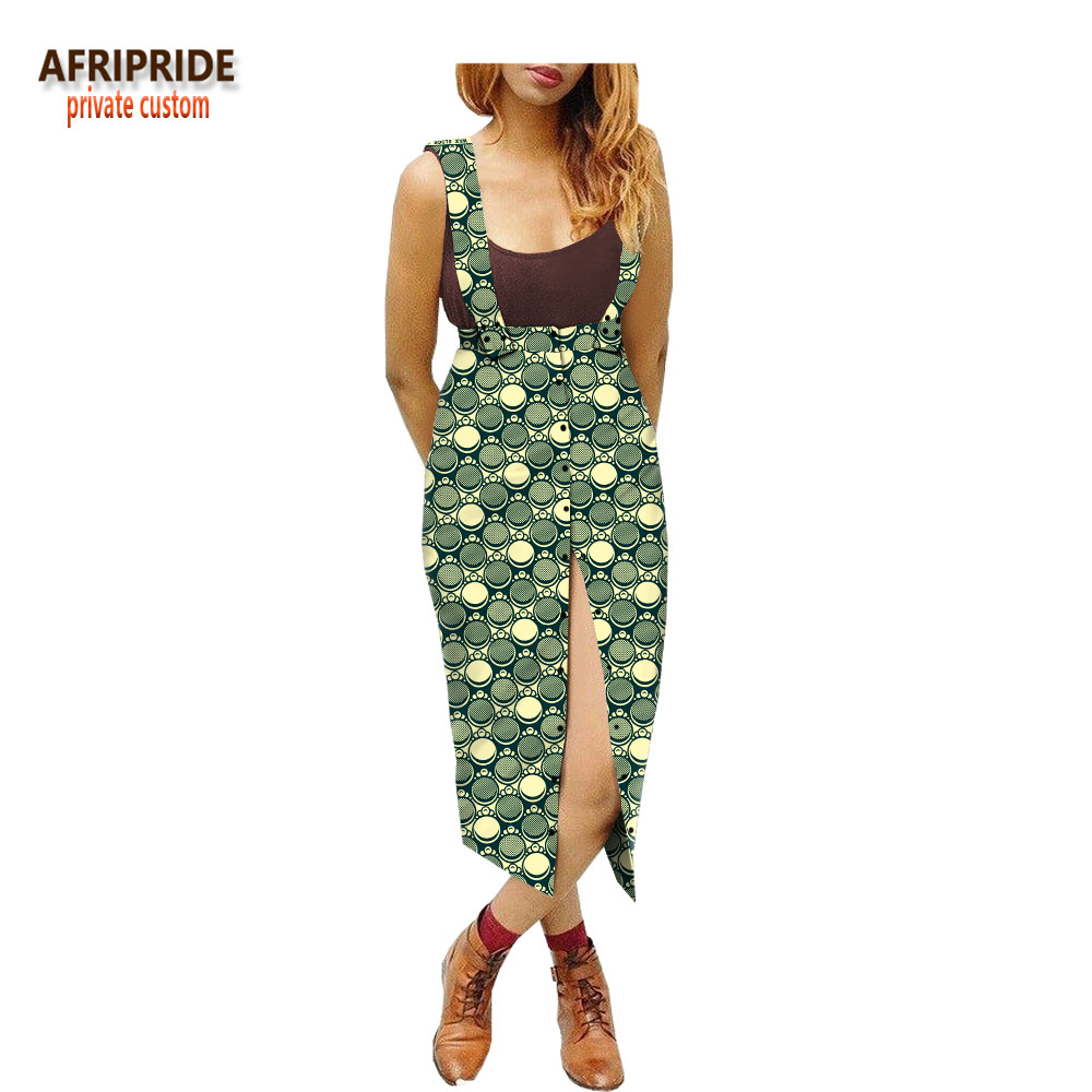 2018 summer african belt skirt for women AFRIPRIDE adjustable belt mid calf length single breasted women
