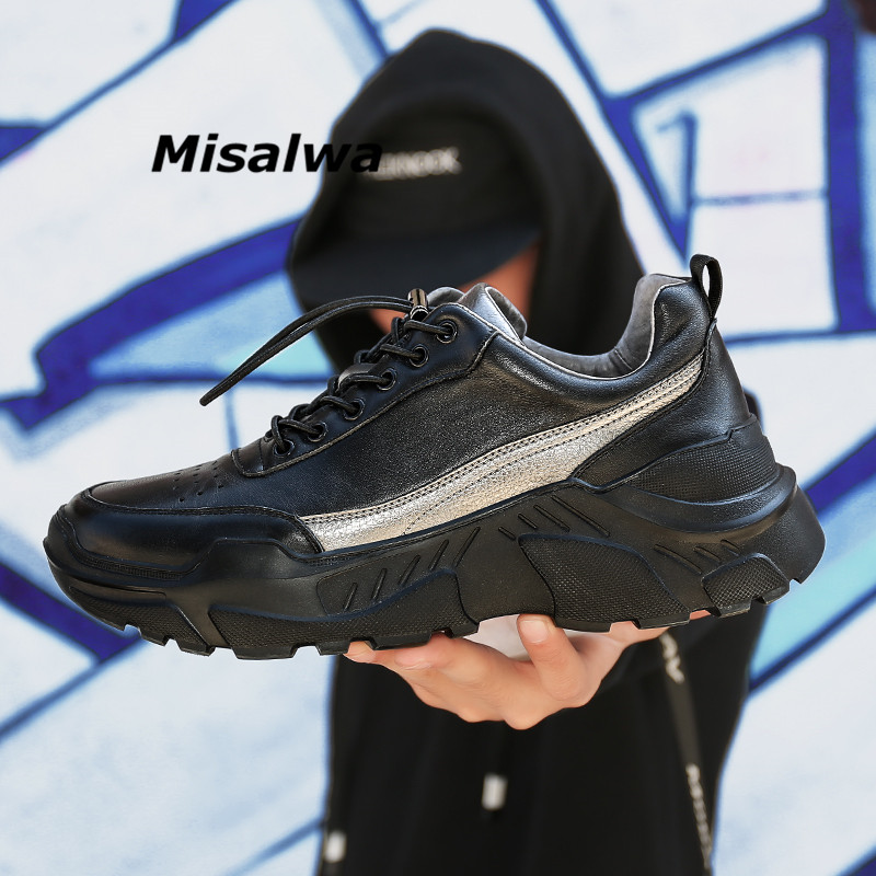 Misalwa Winter Autumn Mens Genuine Leather Shoes Handmade Comfortable Round Toe Boat ShoesBlack Sneakers Casual Zapatos