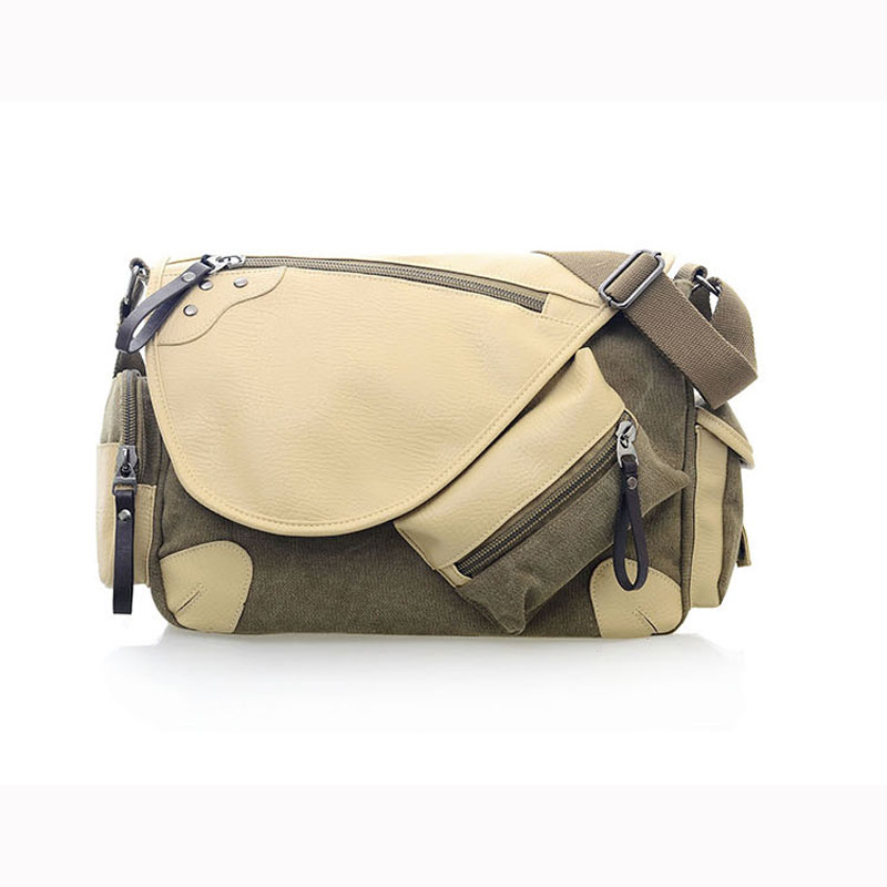 New Canvas & PU Leather Men's Messenger Bag Satchel Crossbody Shoulder Bags Travel  Laptop Notebook Bags Size:36cm*11cm*30cm casual canvas satchel men sling bag
