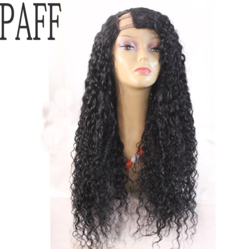 PAFF U Part Human Hair Wig Glueless 180% Density Curly Peruvian Remy Hair Wig With Baby Hair Side Part Bleached Knots