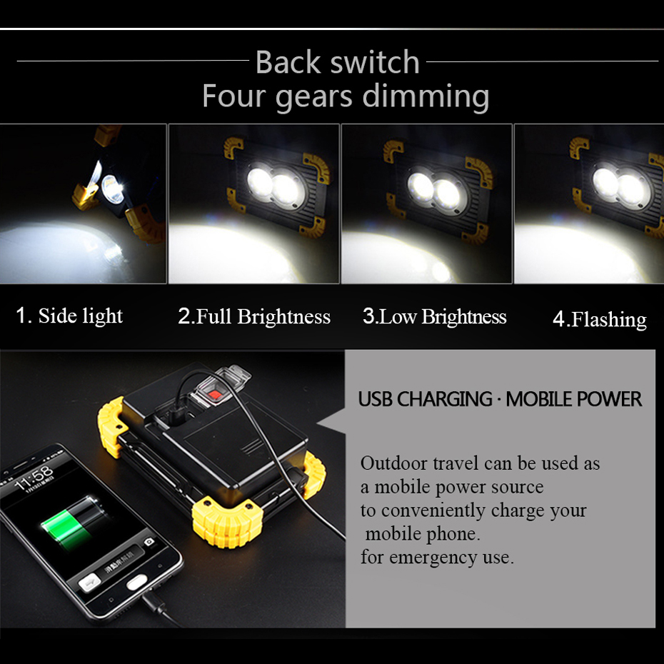 Image 4 - Lampe Led Portable Spotlight Led Work Light Rechargeable 18650 Battery Outdoor Light For Hunting Camping Led Latern Flashlight-in Portable Spotlights from Lights & Lighting