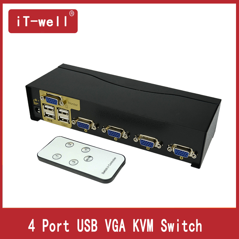 KVM Switch 4 Port USB VGA SVGA Switch Adapter Connect Printer Keyboard Mouse 4 Computer Use 1 Monitor