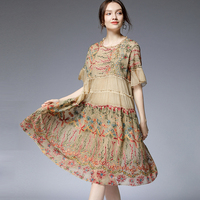 Summer new women's plus size casual loose slim dresses short sleeve crew neck Chiffon embroidery Elegant dress fashion big size