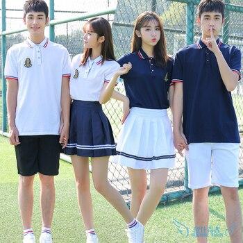 New Style Summer Junior High School Pupils Cotton Short-sleeved T-shirt Uniform Set College British