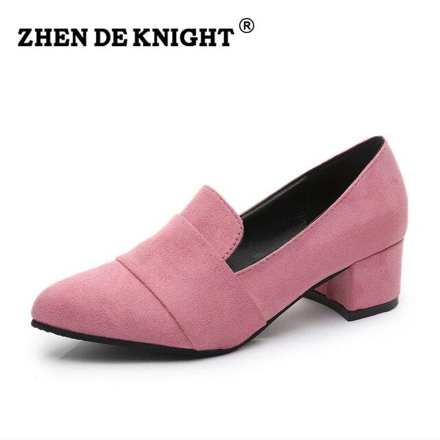 2016 новый элегантный женщины насосы квадратный каблук указал носком на высоком каблуке леди весна обувь fashion party свадебная обувь сладкий случайный бездельник