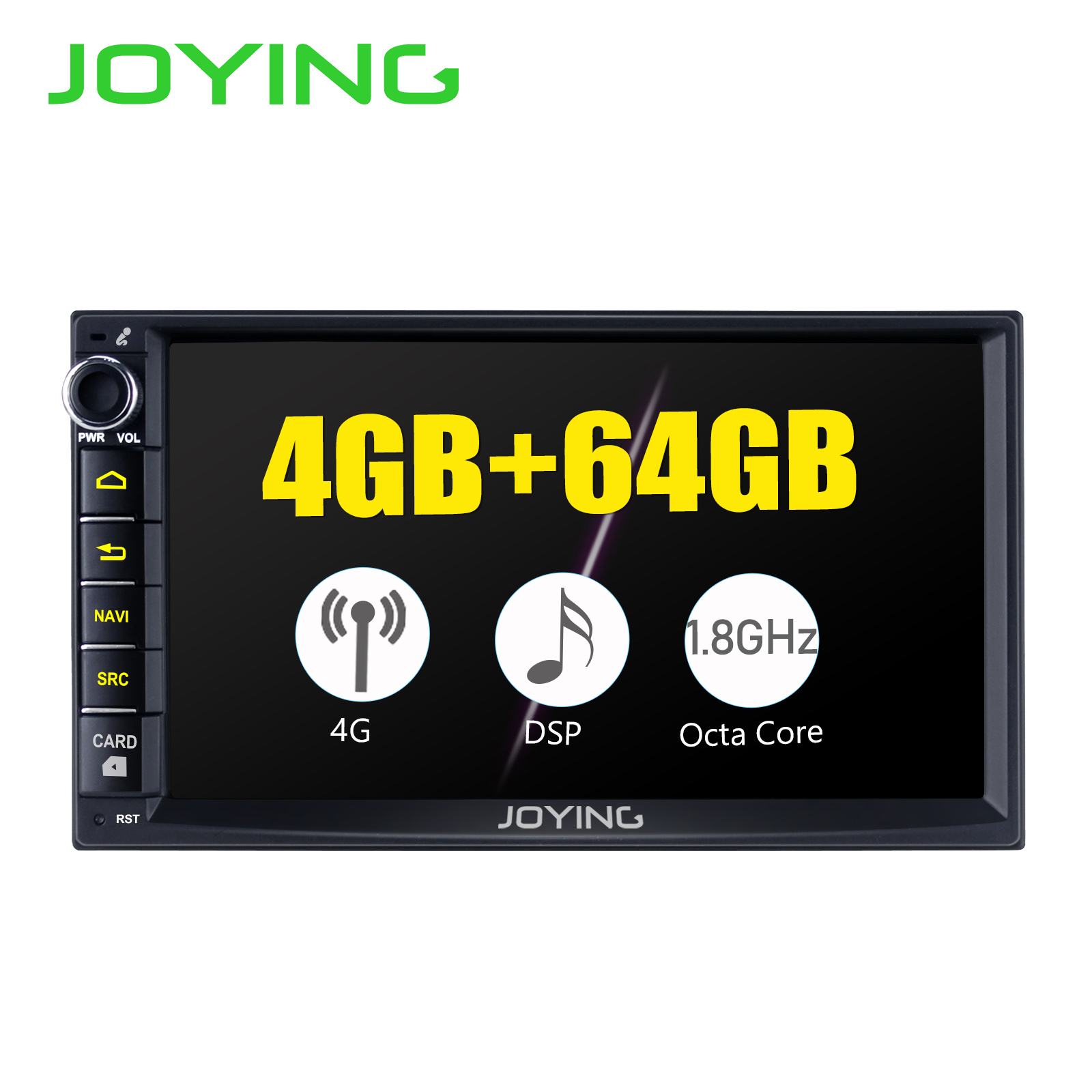 JOYING 2 din Android 8.1 Car radio GPS Núcleo octa 1024*600 GB + 64 4GB de áudio estéreo 7