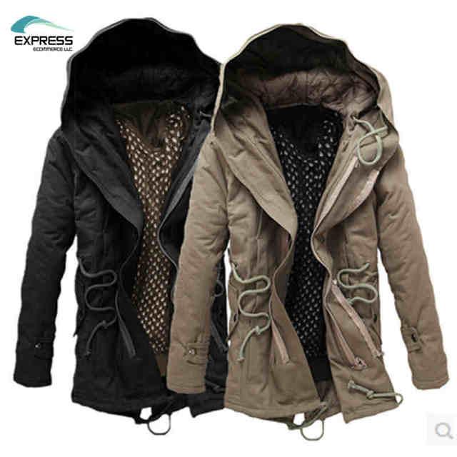 2017 otoño e invierno Coreano Delgado hombres de gran tamaño larga sección gruesa chaqueta de abrigo de algodón tendencia más el tamaño de código M-4XL