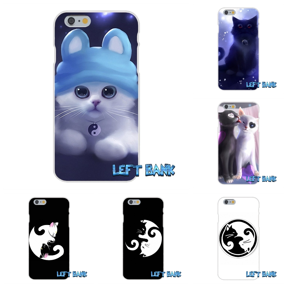 ying yang cat Soft Silicone TPU Transparent Cover Case For iPhone 4 4S 5 5S 5C SE 6 6S 7 Plus