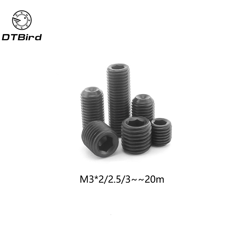 100Pcs M3 DIN916 Black Carbon Steel Metric Thread Grub Screws Inner Hexagon Socket Set Screw M3x(2/2.5/3/4/5/6/8/10/12~20) mm 304 stainless steel set screw black inner hexagon hex socket cup end m top thread headless screw bolt m3 3 4 5 6 8 10 12