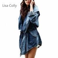 Lisa Colly New Fashion Spring Autumn Oversized Jeans Jacket Women Loose Hooded Jean Jacket Coat Female